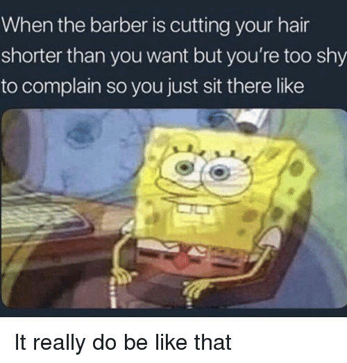 the barber: When the barber is cutting your hair  shorter than you want but you're too shy  to complain so you just sit there like It really do be like that
