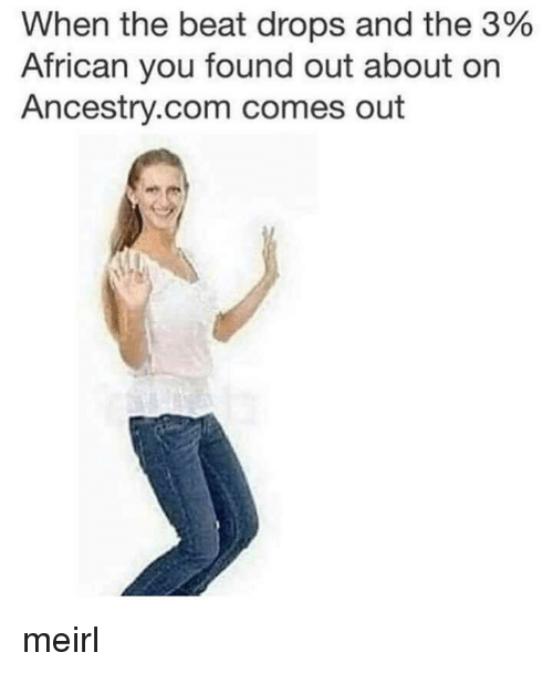 Ancestry: When the beat drops and the 3%  African you found out about on  Ancestry.com comes out meirl