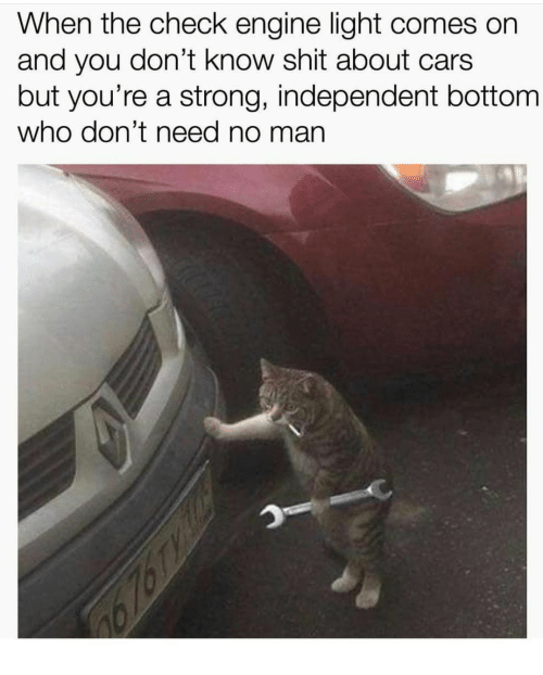 Cars, Shit, and Strong: When the check engine light comes on  and you don't know shit about cars  but you're a strong, independent bottom  who don't need no man