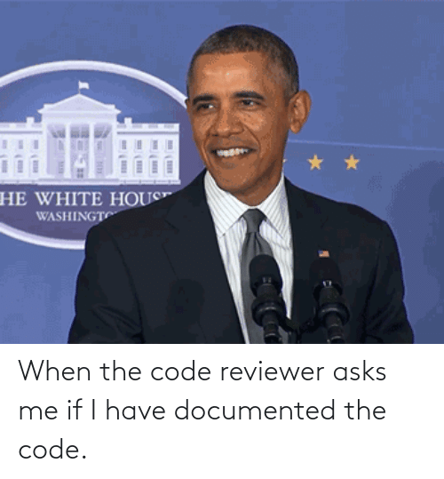 When The: When the code reviewer asks me if I have documented the code.