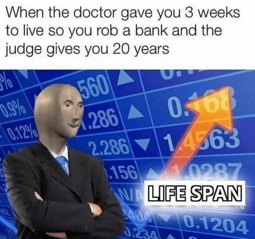 Doctor, Memes, and Bank: When the doctor gave you 3 weeks  to live so you rob a bank and the  judge gives you 20 years  560  286  2.286  156  .9%  0.12%  14563  0287  WALIFE SPAN  0.1204  82  0.234