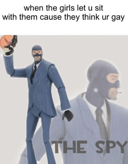 Girls, Spy, and Gay: when the girls let u sit  with them cause they think ur gay  THE SPY