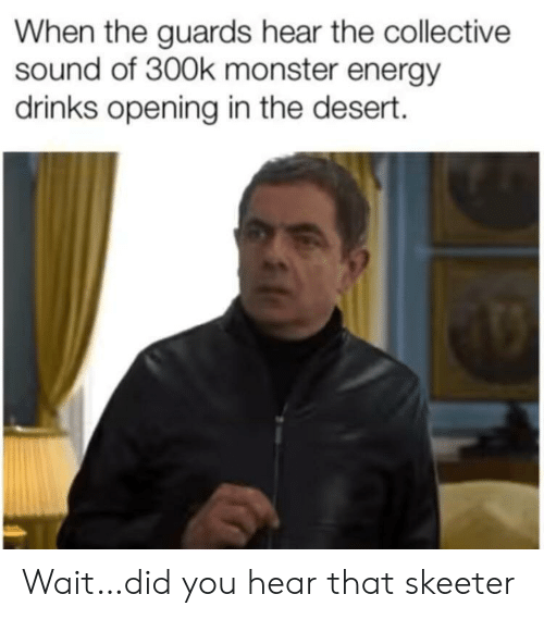 Energy, Monster, and Collective: When the guards hear the collective  sound of 300k monster energy  drinks opening in the desert. Wait…did you hear that skeeter