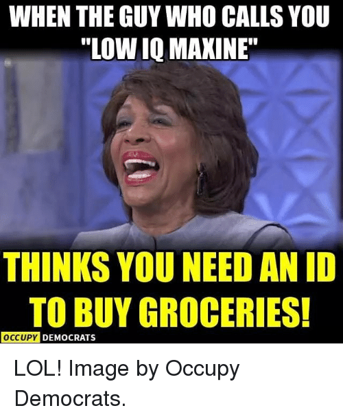 """Maxine: WHEN THE GUY WHO CALLS YOU  """"LOW IQ MAXINE  THINKS YOU NEED AN ID  TO BUY GROCERIES!  O  OCCUPY D  EMOCRATS LOL! Image by Occupy Democrats."""