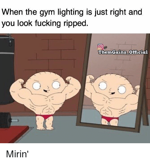 Fucking, Gym, and Lighting: When the gym lighting is just right and  you look fucking ripped.  Theron Gainz Official Mirin'