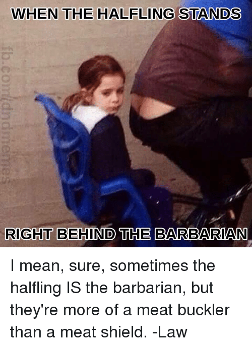 Mean, DnD, and Shield: WHEN THE HALFLING STANDS  RIGHT BEHIND THE BARBARIAN I mean, sure, sometimes the halfling IS the barbarian, but they're more of a meat buckler than a meat shield.   -Law