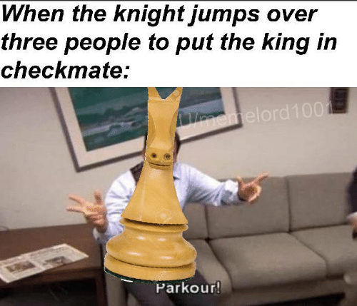 checkmate: When the knight jumps over  three people to put the king in  checkmate:  emelord100  BRE  Parkour!