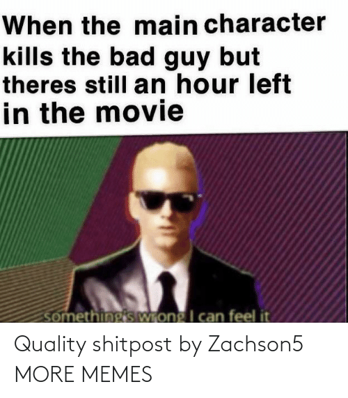 Theres Still: When the main character  kills the bad guy but  theres still an hour left  in the movie  somethingis Wrong I can feel it Quality shitpost by Zachson5 MORE MEMES