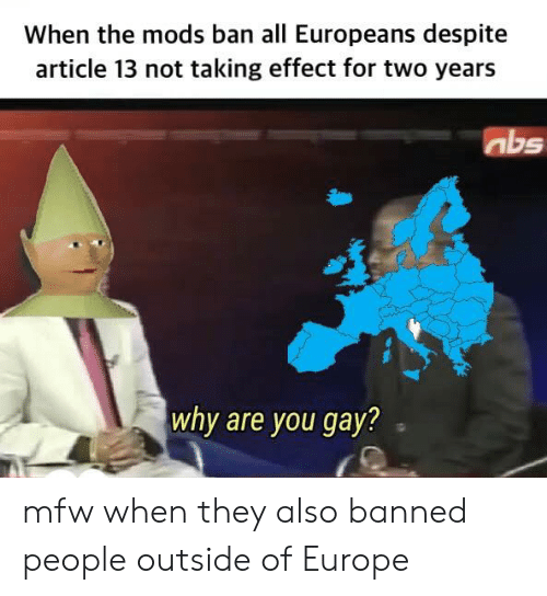 Mfw, Europe, and Gay: When the mods ban all Europeans despite  article 13 not taking effect for two years  abs  why are you gay? mfw when they also banned people outside of Europe