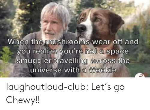 universe: When the mushrooms wear off and  you realize you're not a space  smuggler travelling across the  universe with a Wookie laughoutloud-club:  Let's go Chewy!!