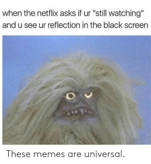 "Memes, Netflix, and Black: when the netflix asks if ur ""still watching""  and u see ur reflection in the black screen These memes are universal."