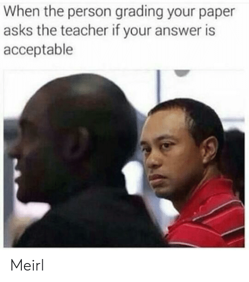 Teacher, MeIRL, and Asks: When the person grading your paper  asks the teacher if your answer is  acceptable Meirl