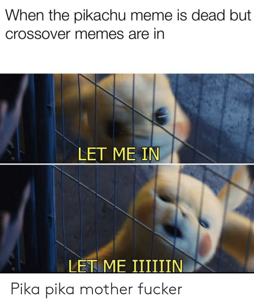 pika: When the pikachu meme is dead but  Crossover memes are in  LET ME IN Pika pika mother fucker