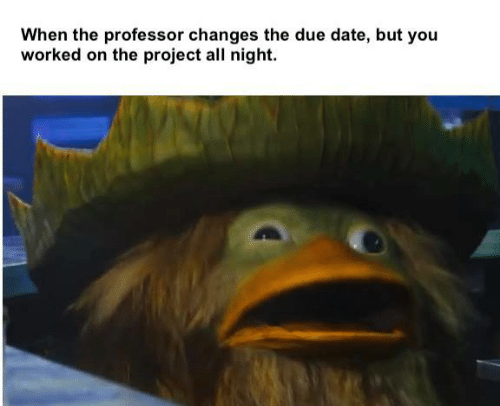 The Project: When the professor changes the due date, but you  worked on the project all night.