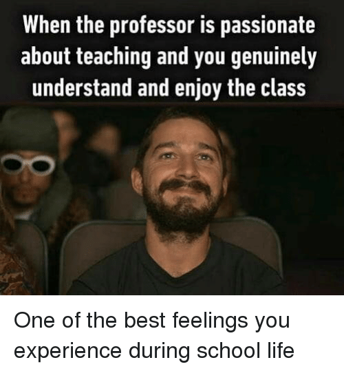 Life, School, and Best: When the professor is passionate  about teaching and you genuinely  understand and enjoy the class One of the best feelings you experience during school life