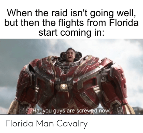 Florida Man, Florida, and Dank Memes: When the raid isn't going well,  but then the flights from Florida  start coming in:  Ha, you guys are screwed now! Florida Man Cavalry