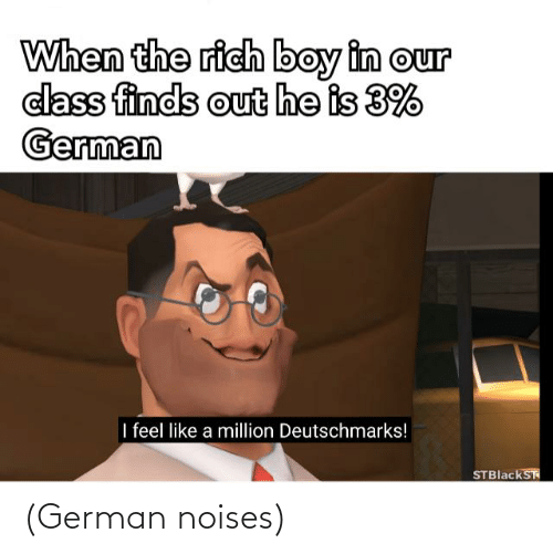 Rich Boy: When the rich boy in our  class finds out he is 3%  German  I feel like a million Deutschmarks!  STBlackST (German noises)