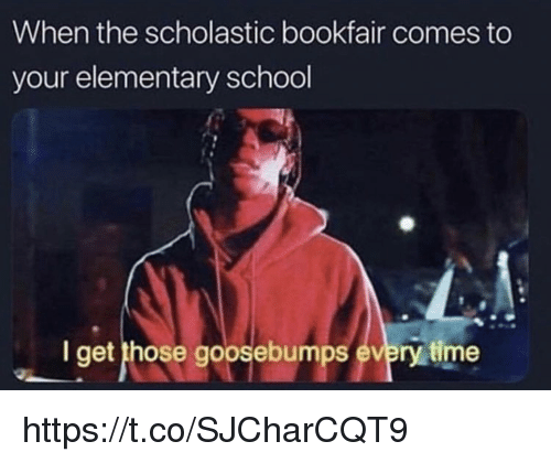 scholastic: When the scholastic bookfair comes to  your elementary school  I get those goosebumps every time https://t.co/SJCharCQT9
