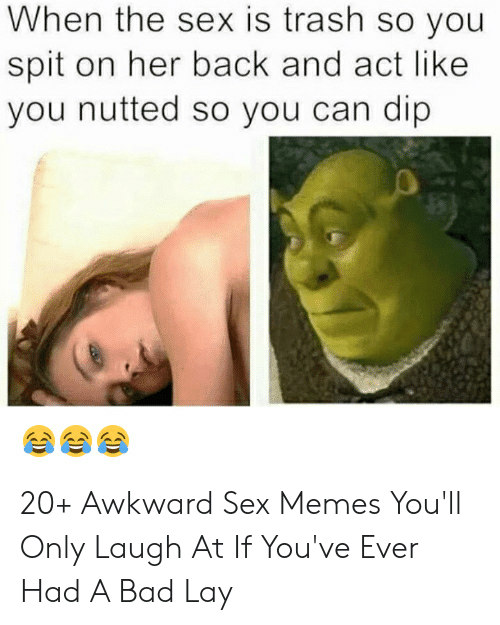 Hilarious Sex Memes: When the sex is trash so you  spit on her back and act like  you nutted so you can dip 20+ Awkward Sex Memes You'll Only Laugh At If You've Ever Had A Bad Lay