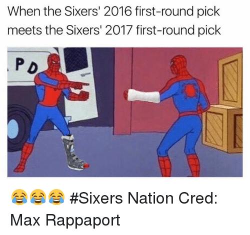 first-round-pick: When the Sixers' 2016 first-round pick  meets the Sixers' 2017 first-round pick  PD 😂😂😂 #Sixers Nation Cred: Max Rappaport