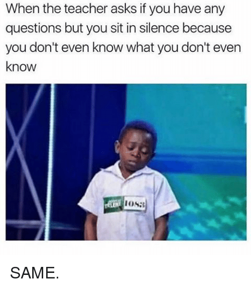 Any Question: When the teacher asks if you have any  questions but you sit in silence because  you don't even know what you don't even  know  IOS: SAME.
