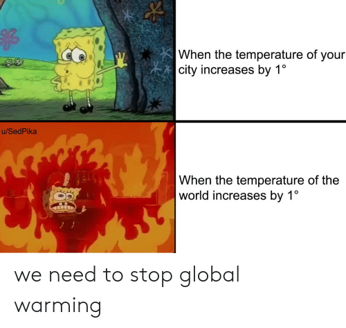 Global Warming, World, and City: |When the temperature of your  |city increases by 1  u/SedPika  When the temperature of the  world increases by 1° we need to stop global warming