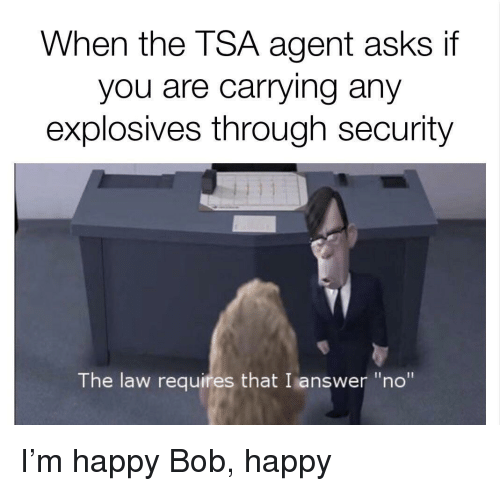 "Happy, Asks, and Answer: When the TSA agent asks if  you are carrying any  explosives through security  The law requires that I answer ""no"" <p>I'm happy Bob, happy</p>"