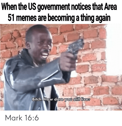 us government: When the US government notices that Area  51 memes are becoming a thing again  Bitch How dare you still livee Mark 16:6