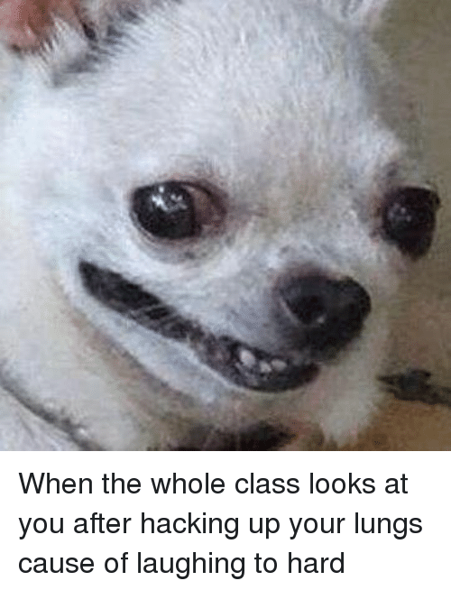 hacking: When the whole class looks at you after hacking up your lungs cause of laughing to hard