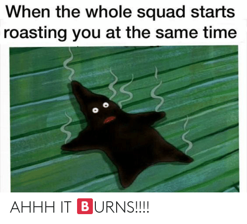 Roasting: When the whole squad starts  roasting you at the same time AHHH IT 🅱URNS!!!!