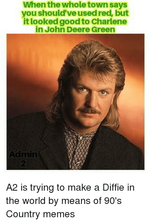 Country Memes: When the whole town says  you should've used red, but  it looked good to Charlene  in John Deere Green A2 is trying to make a Diffie in the world by means of 90's Country memes