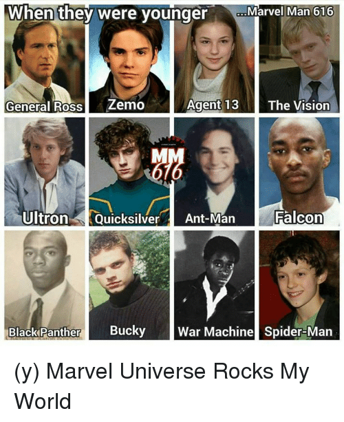 the vision: When they were young  Marvel Man 616  General Ross  Zemo  Agent 13  The Vision  Ultron  Quicksilver  an  Falcon  Black Panther  Bucky  War Machine Spider-Man (y) Marvel Universe Rocks My World