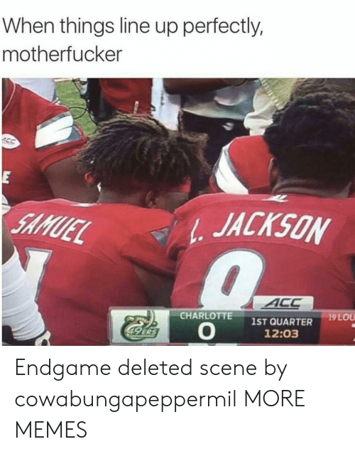 endgame: When things line up perfectly,  motherfucker  E  JACKSON  SAMUEL  ACC  19 LOU  CHARLOTTE  1ST QUARTER  12:03  49 ERS Endgame deleted scene by cowabungapeppermil MORE MEMES