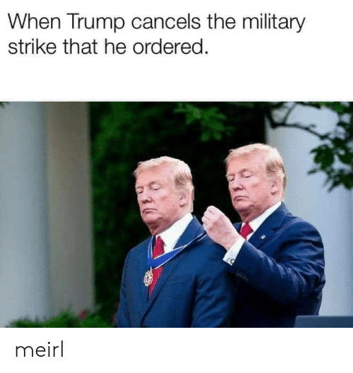 Trump, Military, and MeIRL: When Trump cancels the military  strike that he ordered. meirl