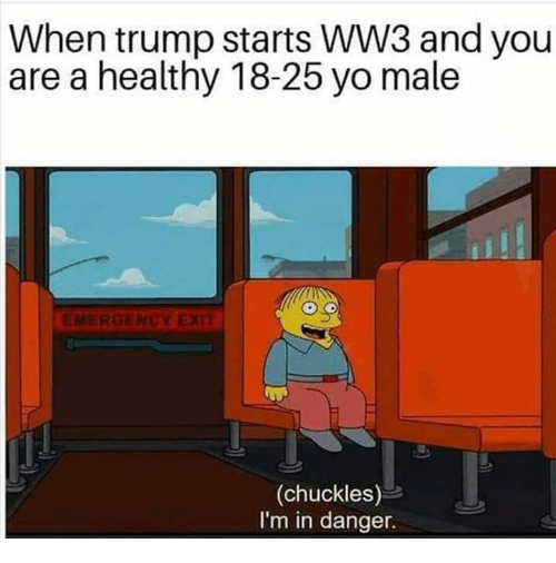 Memes, Yo, and Trump: When trump starts WW3 and you  are a healthy 18-25 yo male  (chuckles)  I'm in danger.
