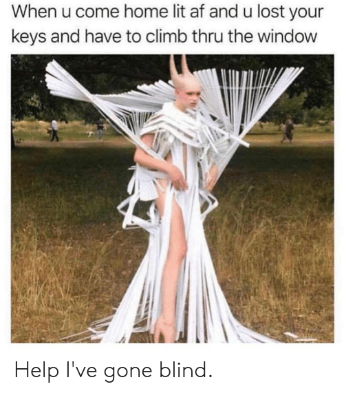 Af, Dank, and Lit: When u come home lit af and u lost your  keys and have to climb thru the window Help I've gone blind.