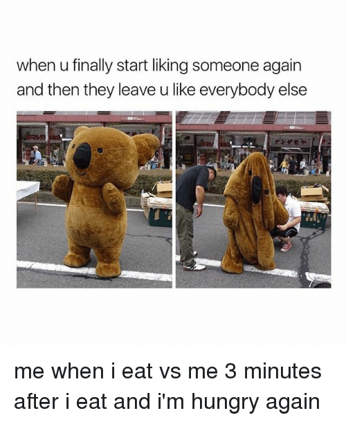 Hungry, Girl Memes, and They: when u finally start liking someone again  and then they leave u like everybody else me when i eat vs me 3 minutes after i eat and i'm hungry again