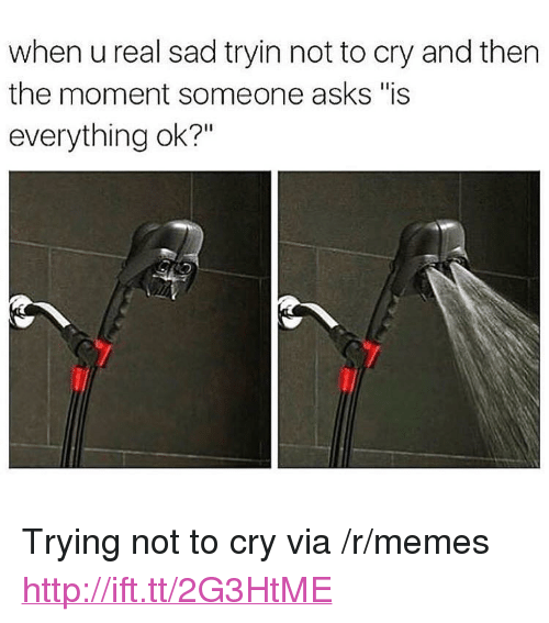 """Is Everything Ok: when u real sad tryin not to cry and then  the moment someone asks """"is  everything ok?"""" <p>Trying not to cry via /r/memes <a href=""""http://ift.tt/2G3HtME"""">http://ift.tt/2G3HtME</a></p>"""