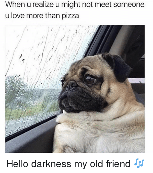 Hello, Love, and Pizza: When u realize u might not meet someone  u love more than pizza Hello darkness my old friend 🎶