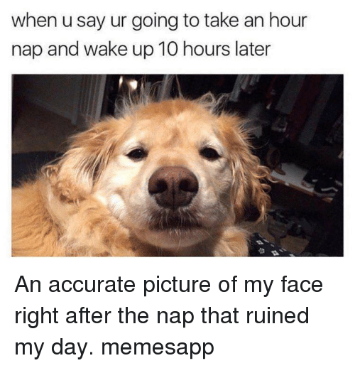 Memes, 🤖, and Day: when u say ur going to take an hour  nap and wake up 10 hours later An accurate picture of my face right after the nap that ruined my day. memesapp