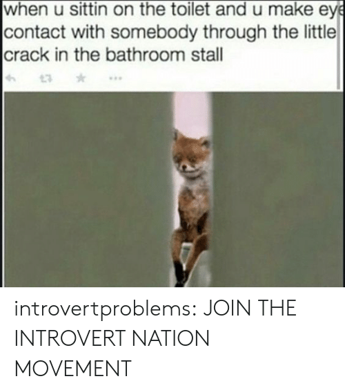 sittin on the toilet: when u sittin on the toilet and u make ey  contact with somebody through the little  crack in the bathroom stal  13 introvertproblems:  JOIN THE INTROVERT NATION MOVEMENT