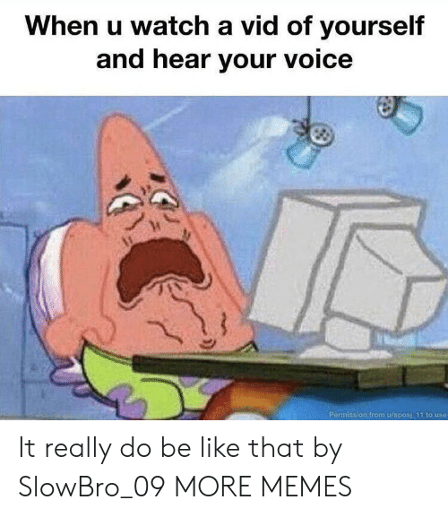 vid: When u watch a vid of yourself  and hear your voice  Permission from u/sposi 11 to use It really do be like that by SlowBro_09 MORE MEMES