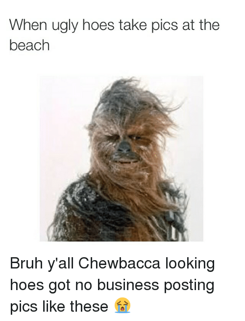ugly hoe: When ugly hoes take pics at the  beach Bruh y'all Chewbacca looking hoes got no business posting pics like these 😭