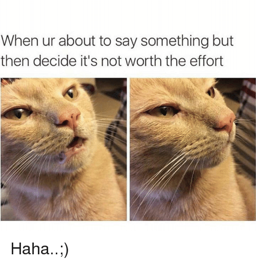 About To Say Something: When ur about to say something but  then decide it's not worth the effort Haha..;)