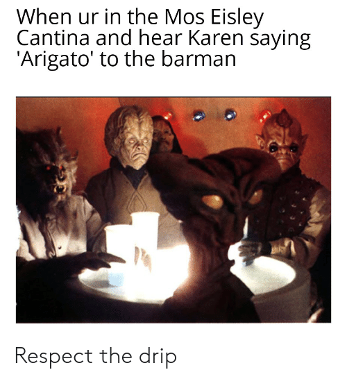 Eisley Cantina: When ur in the Mos Eisley  Cantina and hear Karen saying  'Arigato' to the barman Respect the drip