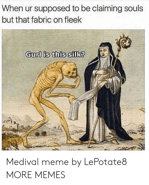Claiming: When ur supposed to be claiming souls  but that fabric on fleek  Gurl is this silk? Medival meme by LePotate8 MORE MEMES