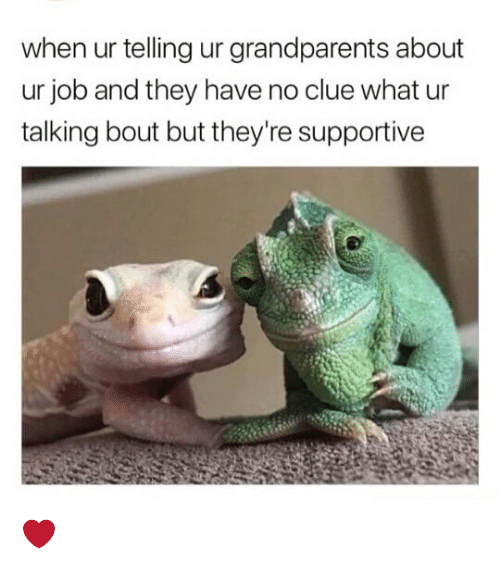 Memes, 🤖, and Job: when ur telling ur grandparents about  ur job and they have no clue what ur  talking bout but they're supportive ❤️