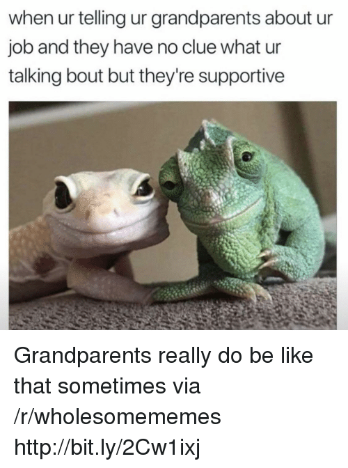 Be Like, Http, and Job: when ur telling ur grandparents about ur  job and they have no clue what ur  talking bout but they're supportive Grandparents really do be like that sometimes via /r/wholesomememes http://bit.ly/2Cw1ixj
