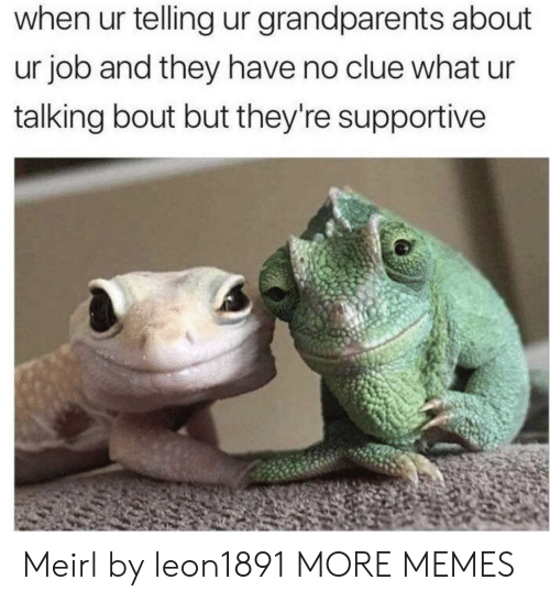 Dank, Memes, and Target: when ur telling ur grandparents about  ur job and they have no clue what ur  talking bout but they're supportive Meirl by leon1891 MORE MEMES