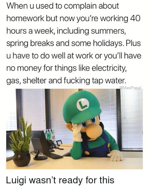 Fucking, Funny, and Money: When uused to complain about  homework but now you're working 40  hours a week, including summers,  spring breaks and some holidays. Plus  u have to do well at work or you'll have  no money for things like electricity,  gas, shelter and fucking tap water.  @MasiPopal Luigi wasn't ready for this
